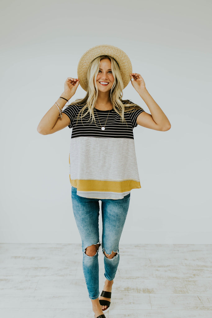 Yellow + Black Stripe Tee | ROOLEE