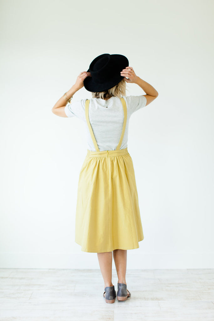 Here's Looking At You Overall Dress in Dandelion