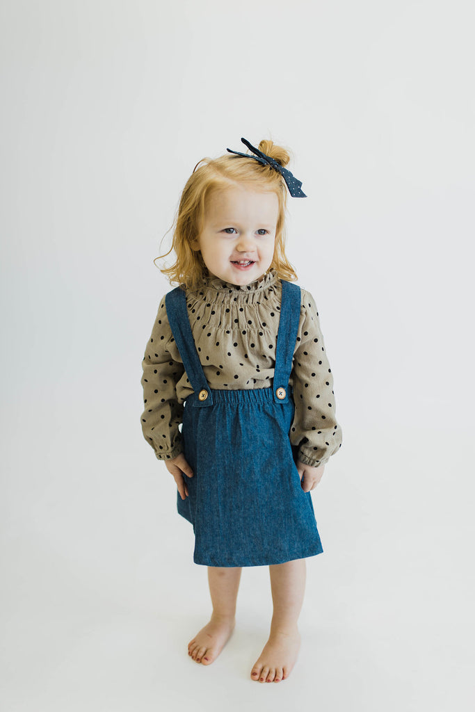 Black + Tan Polka Dot Linen Childrens Top | ROOLEE