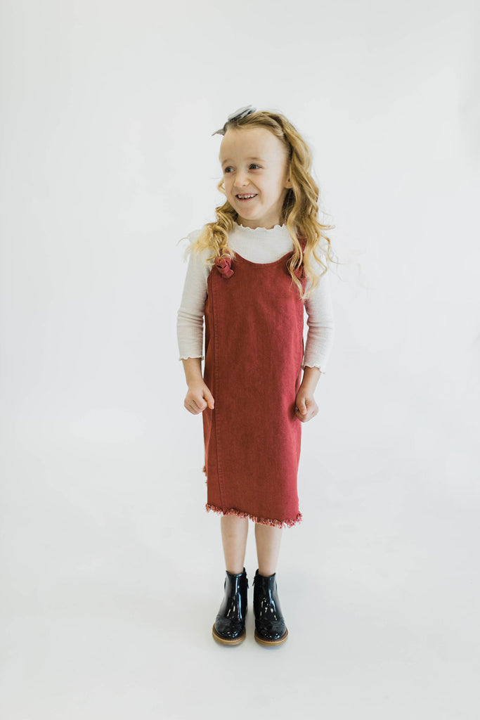 Red/Cranberry Little Girls Overall Dress | ROOLEE