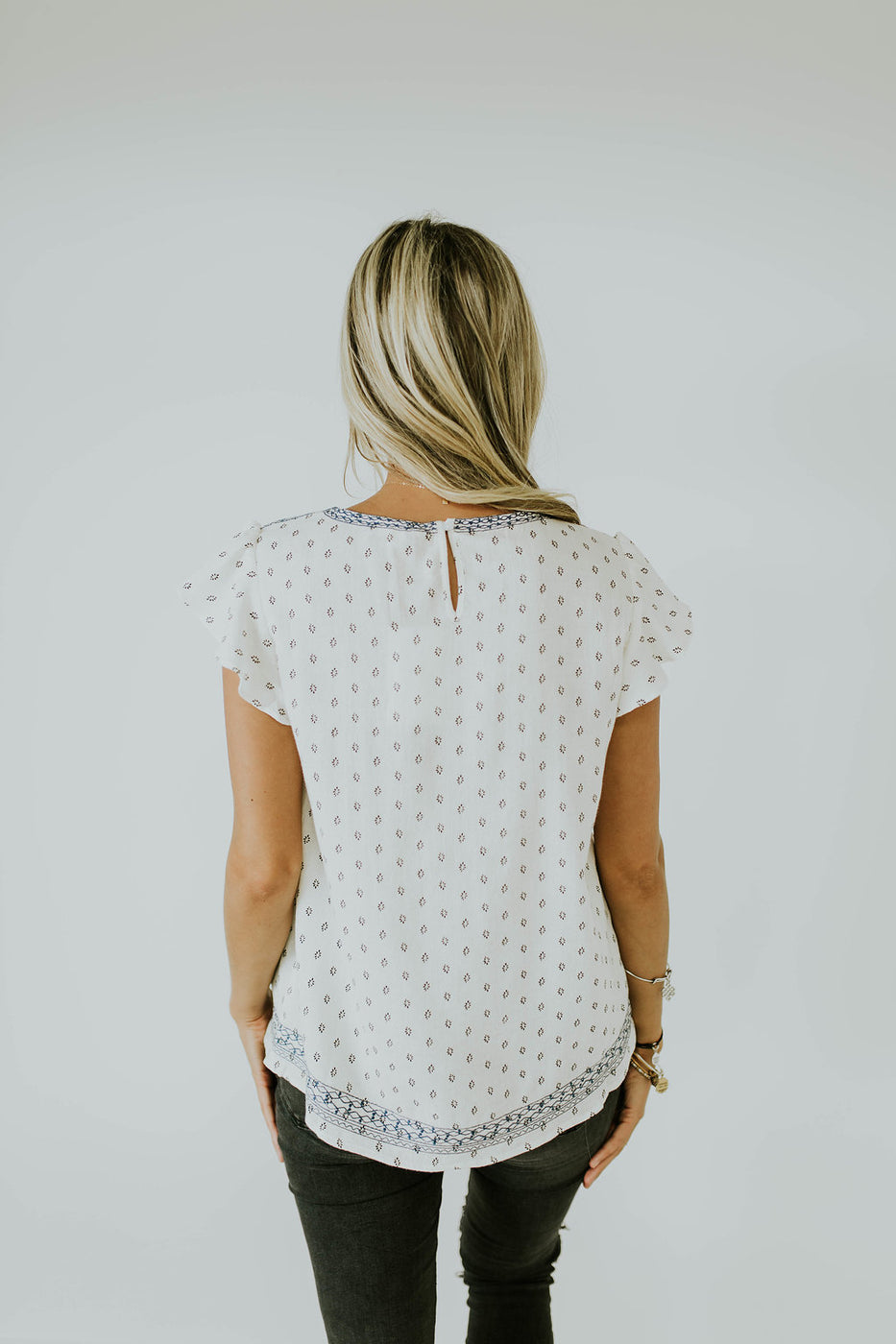 Embroidered Short Sleeve Detail Top | ROOLEE