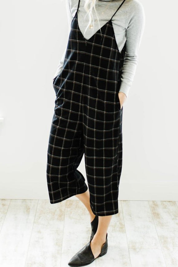 Can't Hurry Love Plaid Jumpsuit