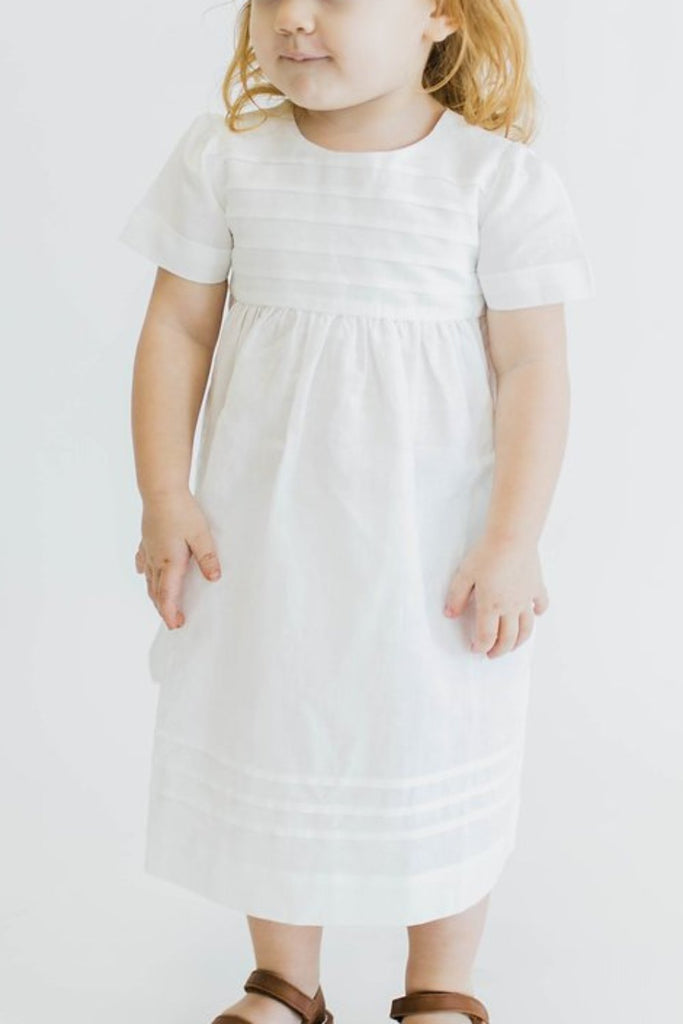 White Cotton Dress For Girls | ROOLEE Kids