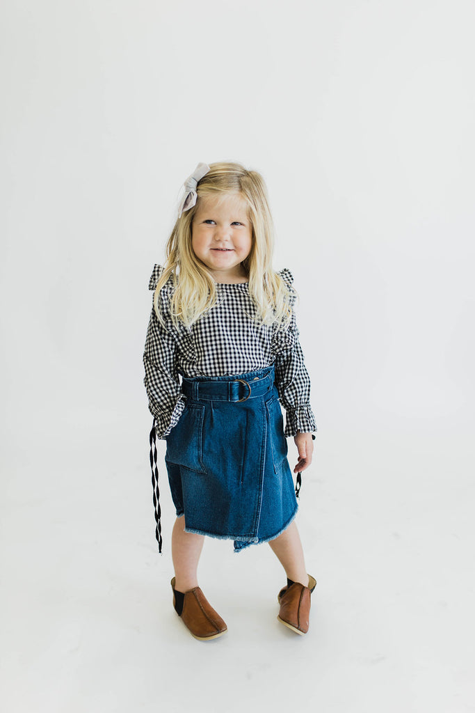 Black + White Plaid Top | ROOLEE Kids