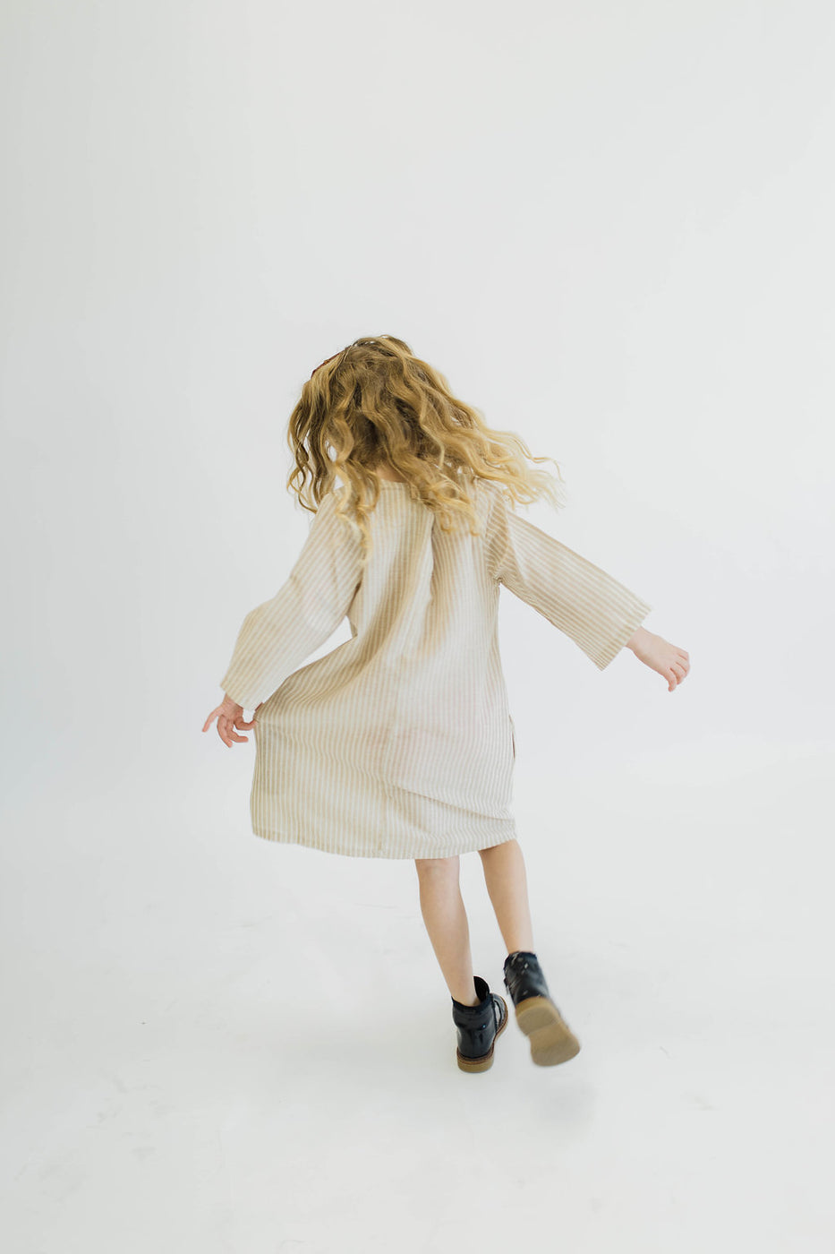 Long Sleeve Taupe Stripe Dress | ROOLEE Kids