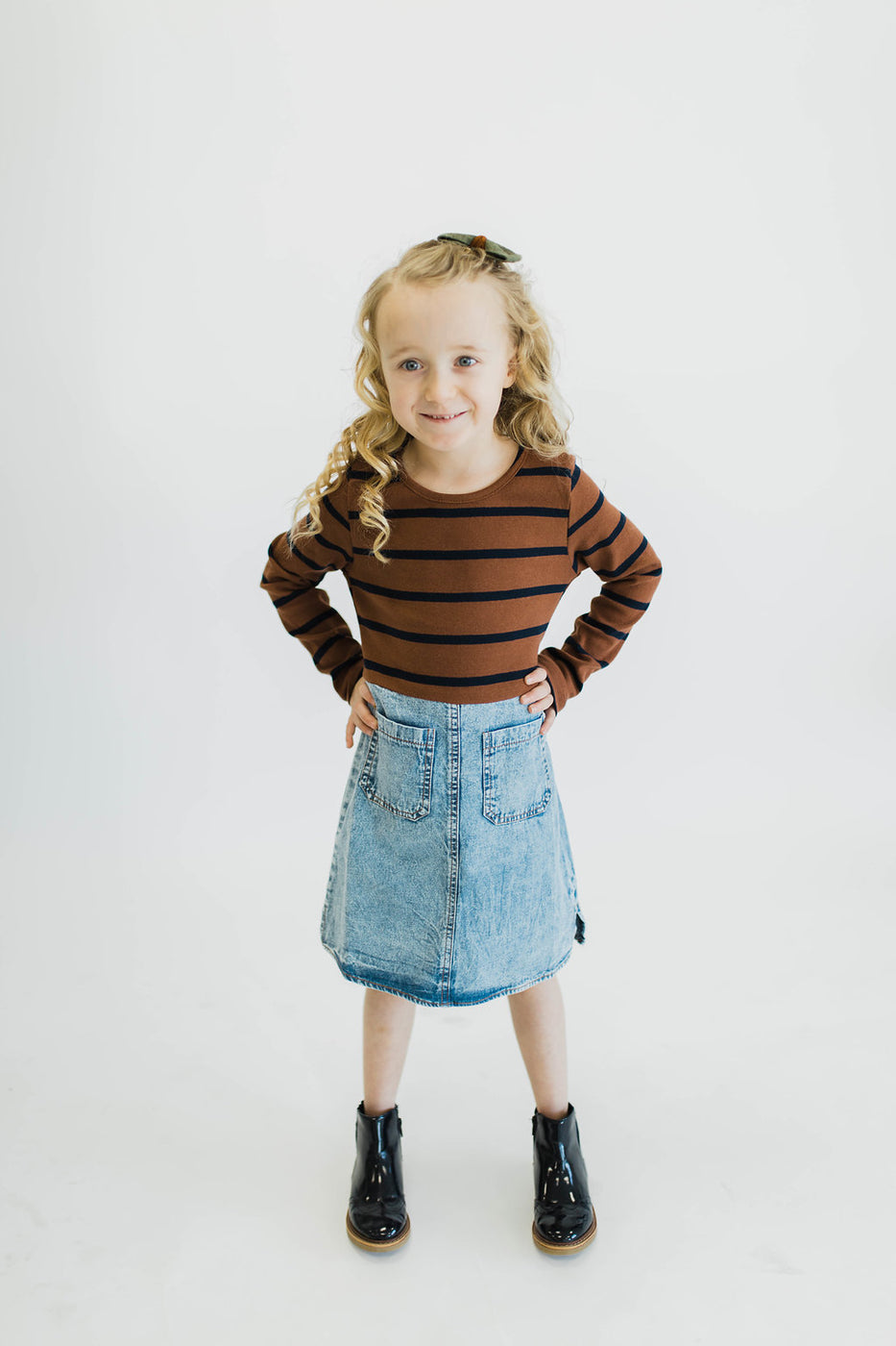 Stripe Top w/Denim Skirt | ROOLEE