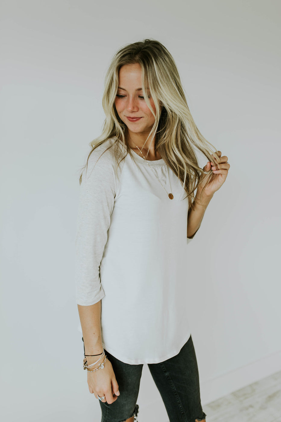 Neutral Raglan Sleeve Top | ROOLEE