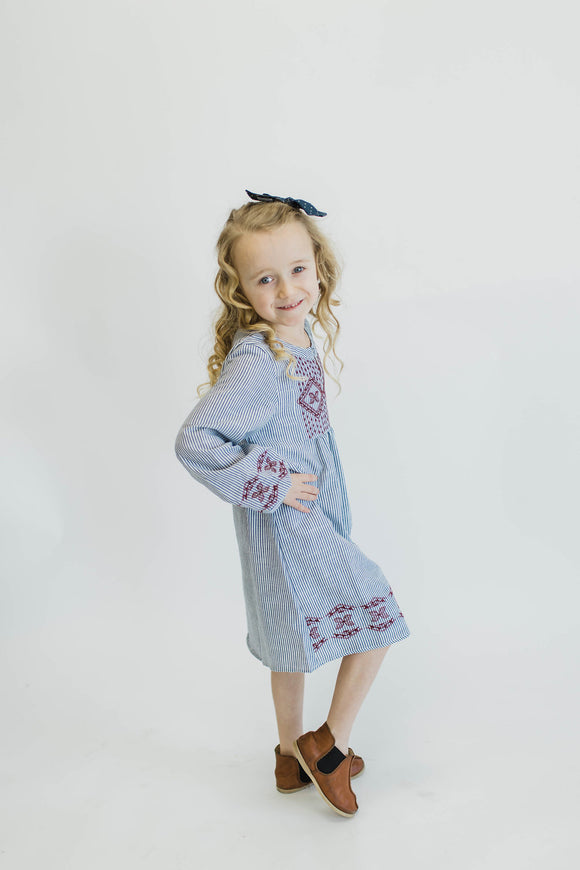 Blue + White Embroidered Dress Young Girl | ROOLEE
