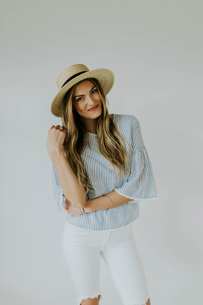 White and Blue Stripe Blouse 3/4 Sleeves | ROOLEE