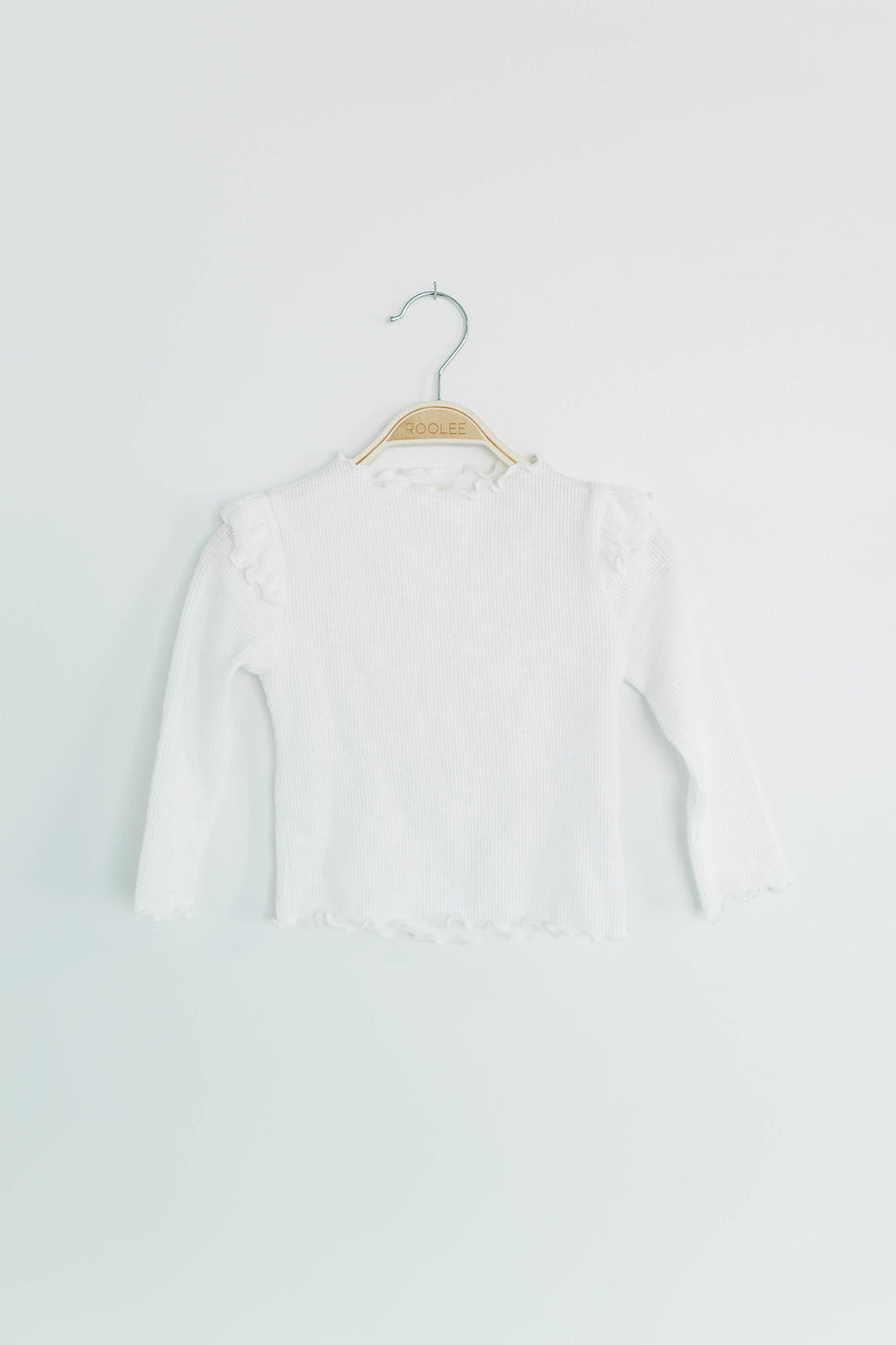 Little Girl's White Ruffle Top | ROOLEE
