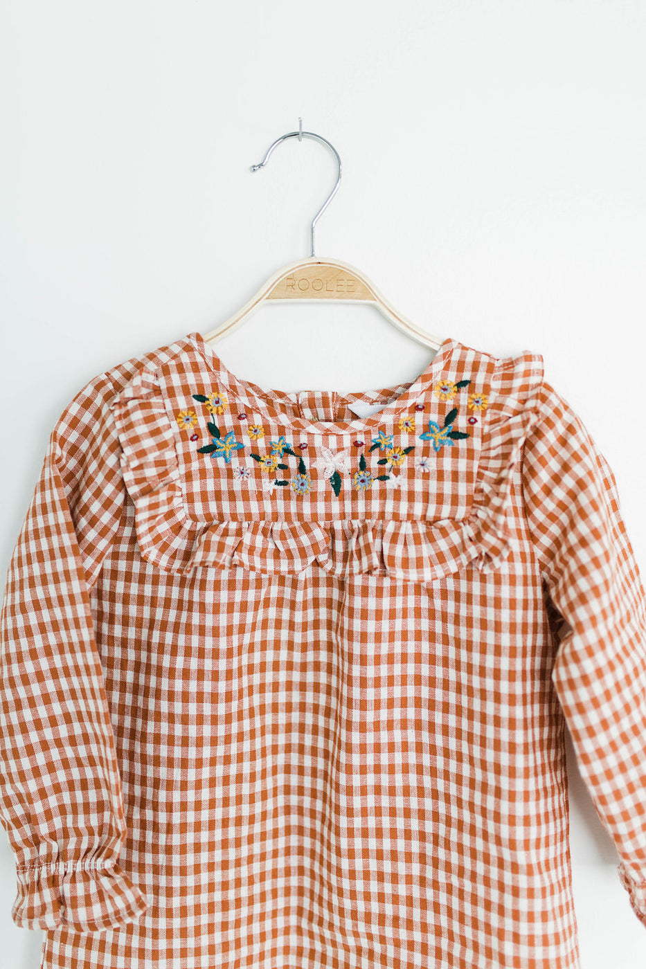 Embroidered Plaid Ruffle Tunic | ROOLEE
