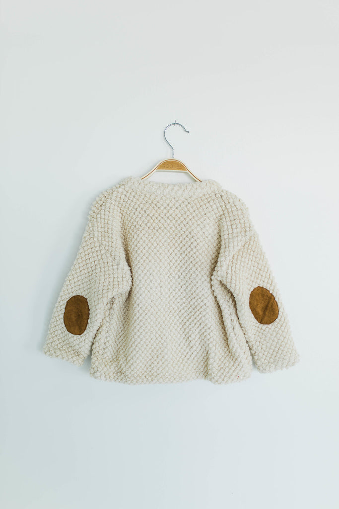Elbow Patch Fuzzy Knit Jacket | ROOLEE