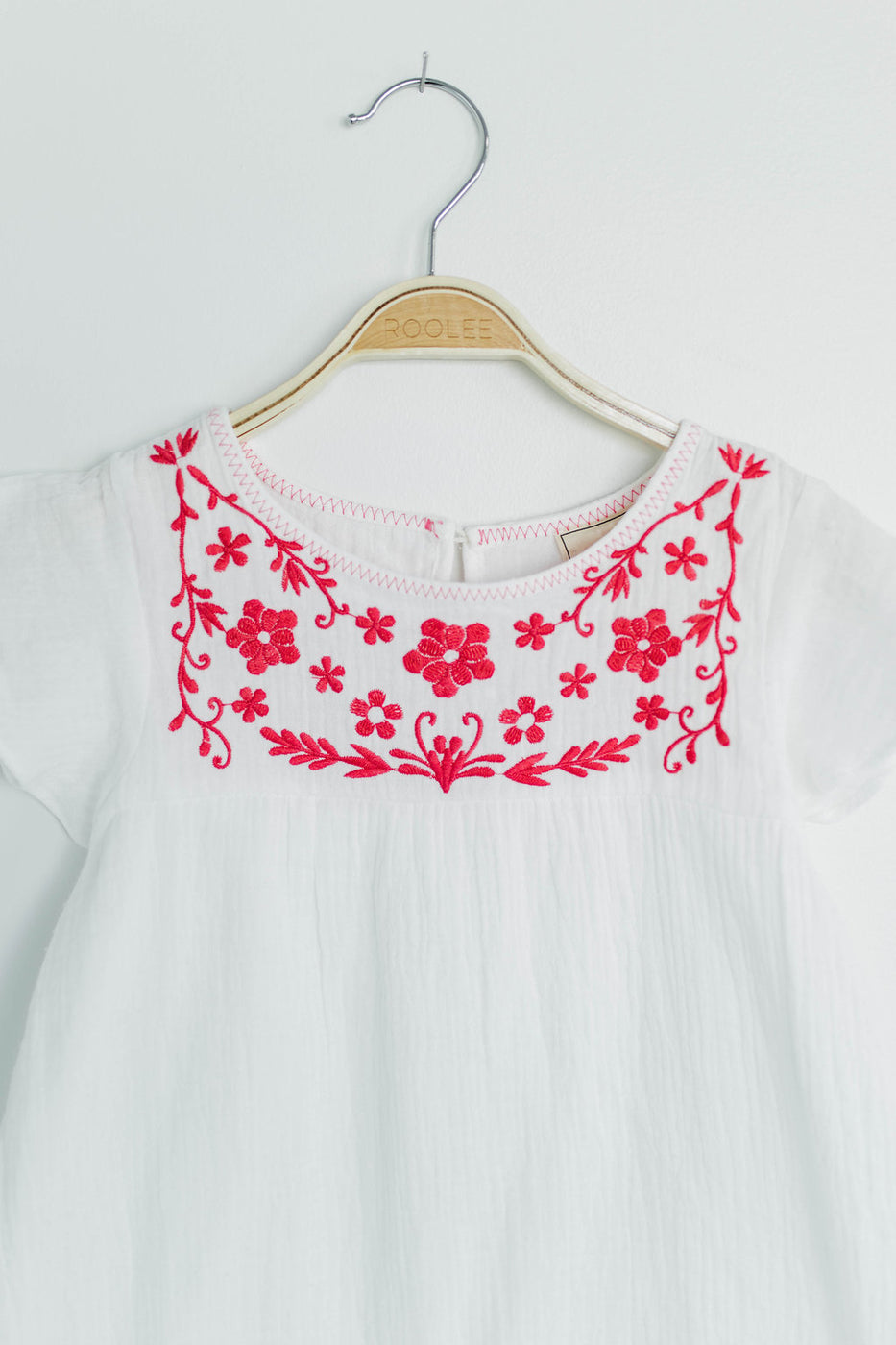 Honey Crinkle Embroidered Top with Flutter Sleeves | ROOLEE