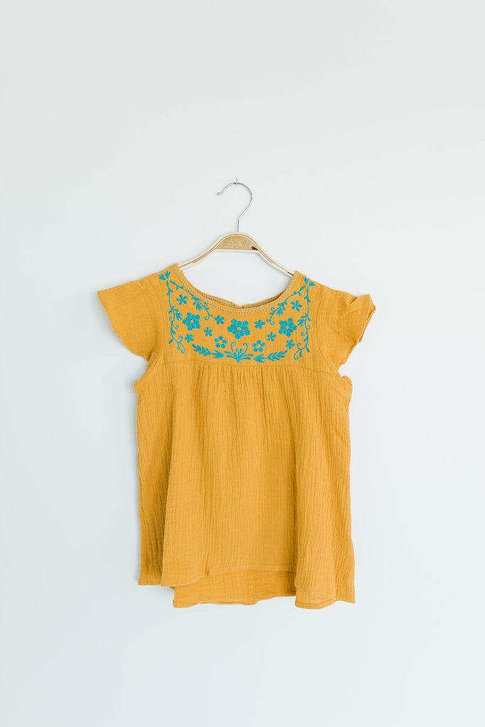 Marty Ray Embroidered Top in Honey | ROOLEE Kids