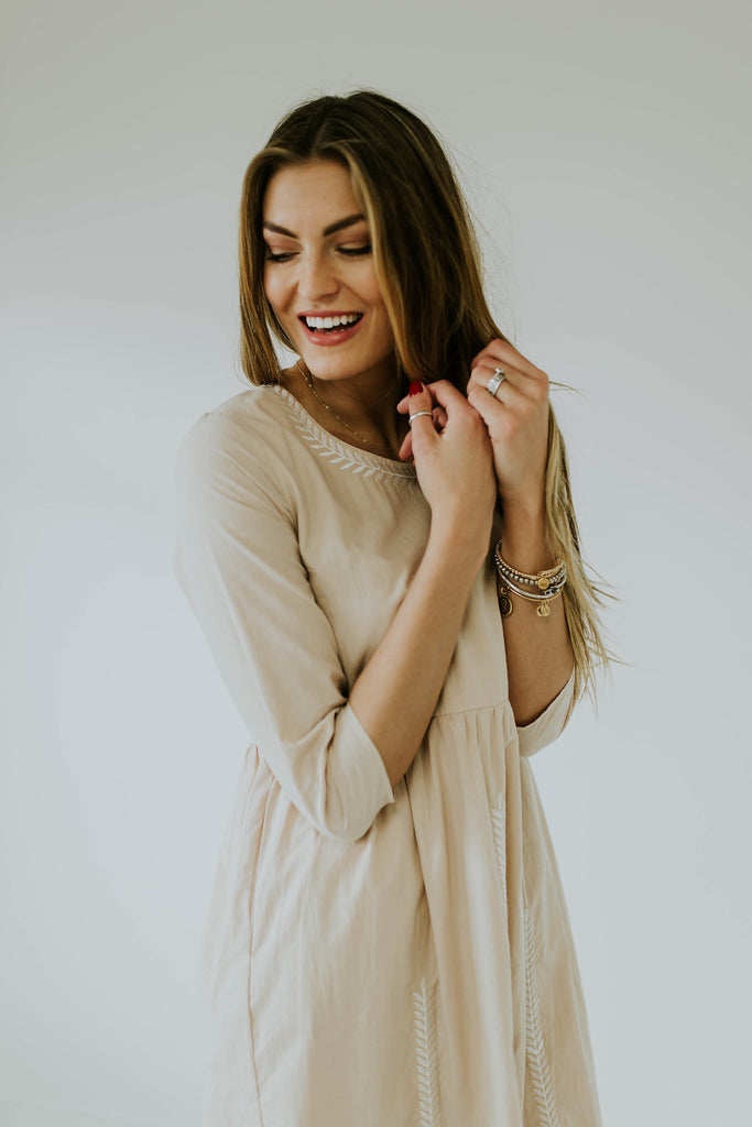 3/4 Length Sleeves Dress | ROOLEE