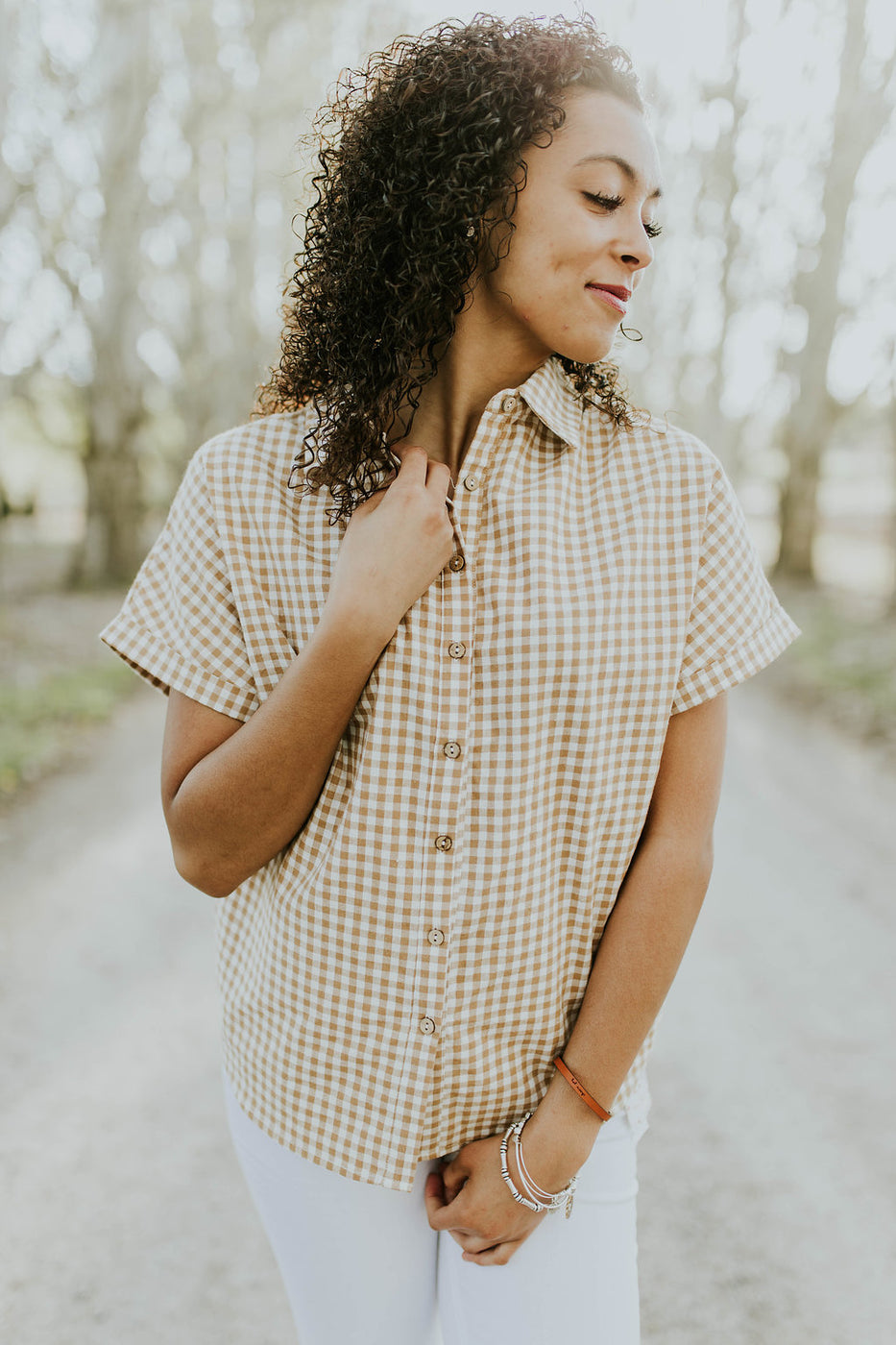 Checkered Gingham Top in Taupe for Summer | ROOLEE