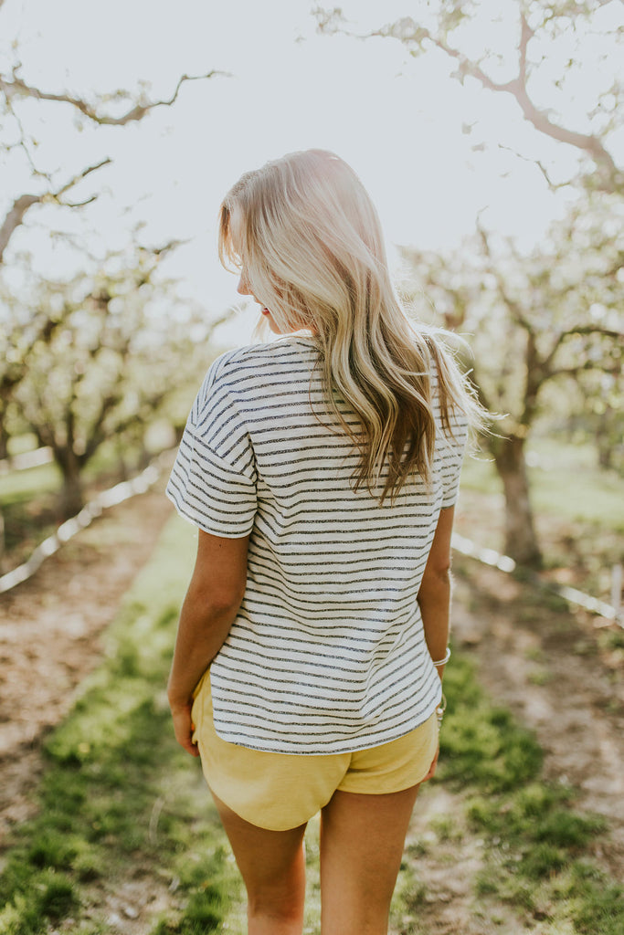 White Jersey Tee with Navy Stripes | ROOLEE
