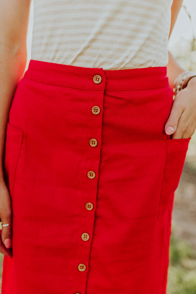 Bright Tomato Red Midi Skirt | ROOLEE