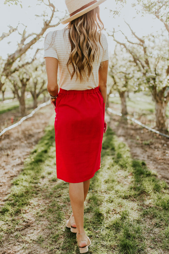 Woven Midi Skirt w/Button Up Front | ROOLEE