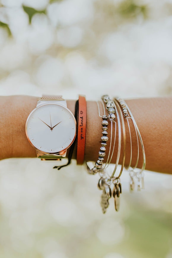 You are Loved Leather Bracelet | ROOLEE