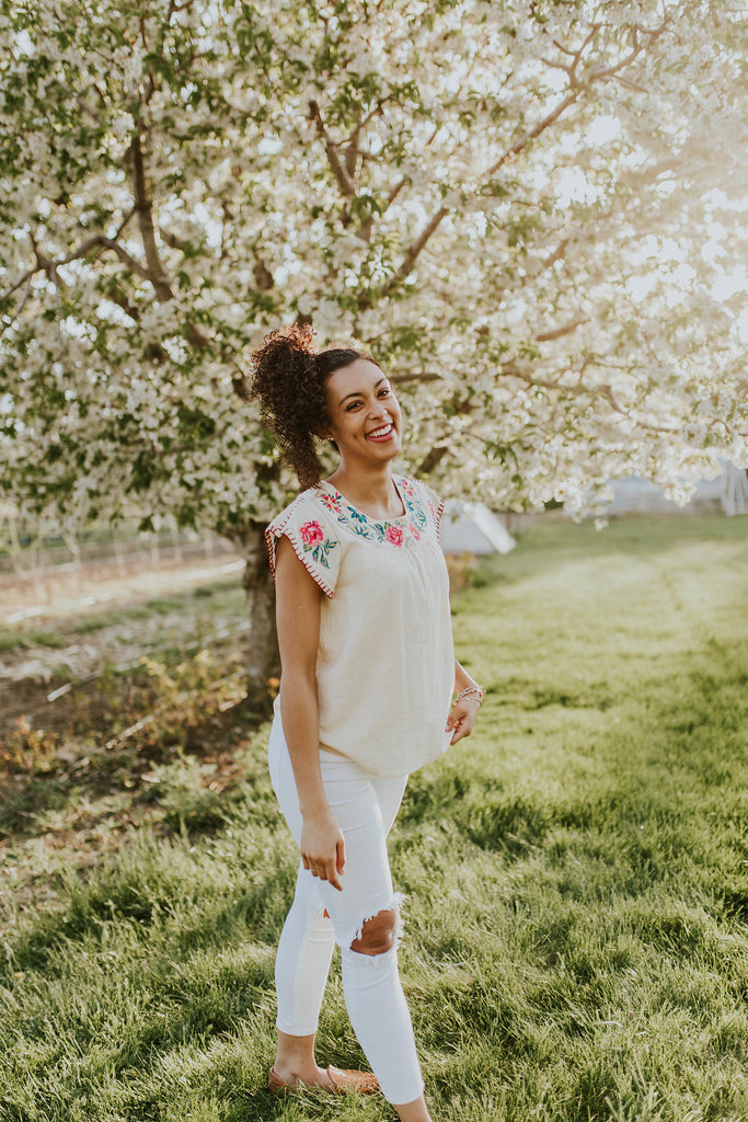 Embroidered Tan Summer Top | ROOLEE