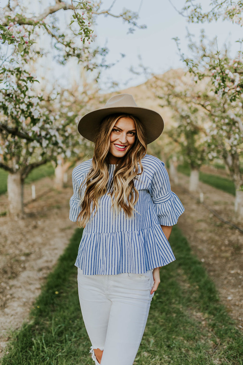 Blue + White Stripe Blouse | ROOLEE