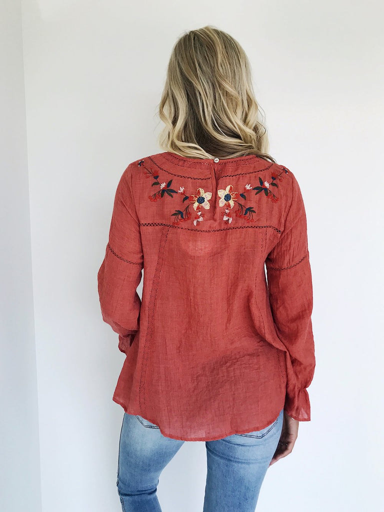 Rosewood Blouse in Rust