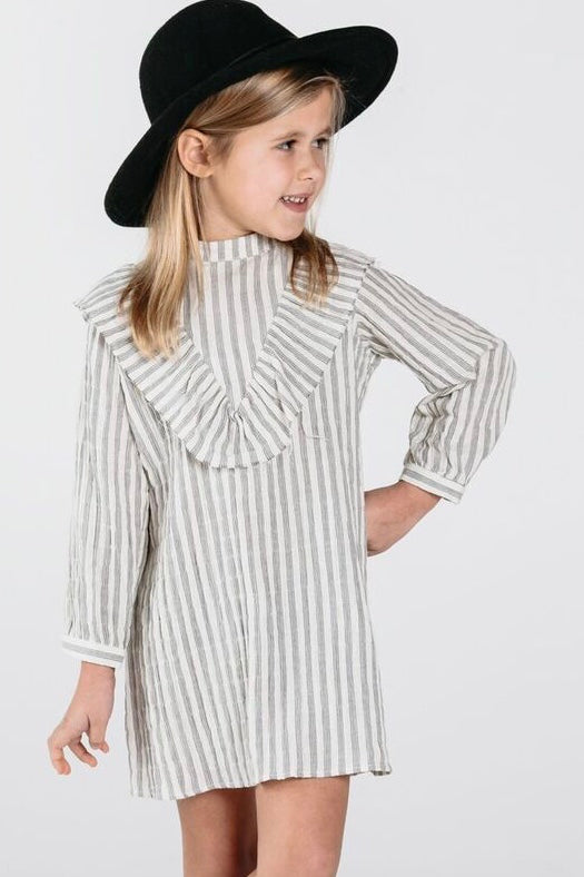 Long Sleeve Stripe Ruffle Dress Outfit For Girls | ROOLEE Kids