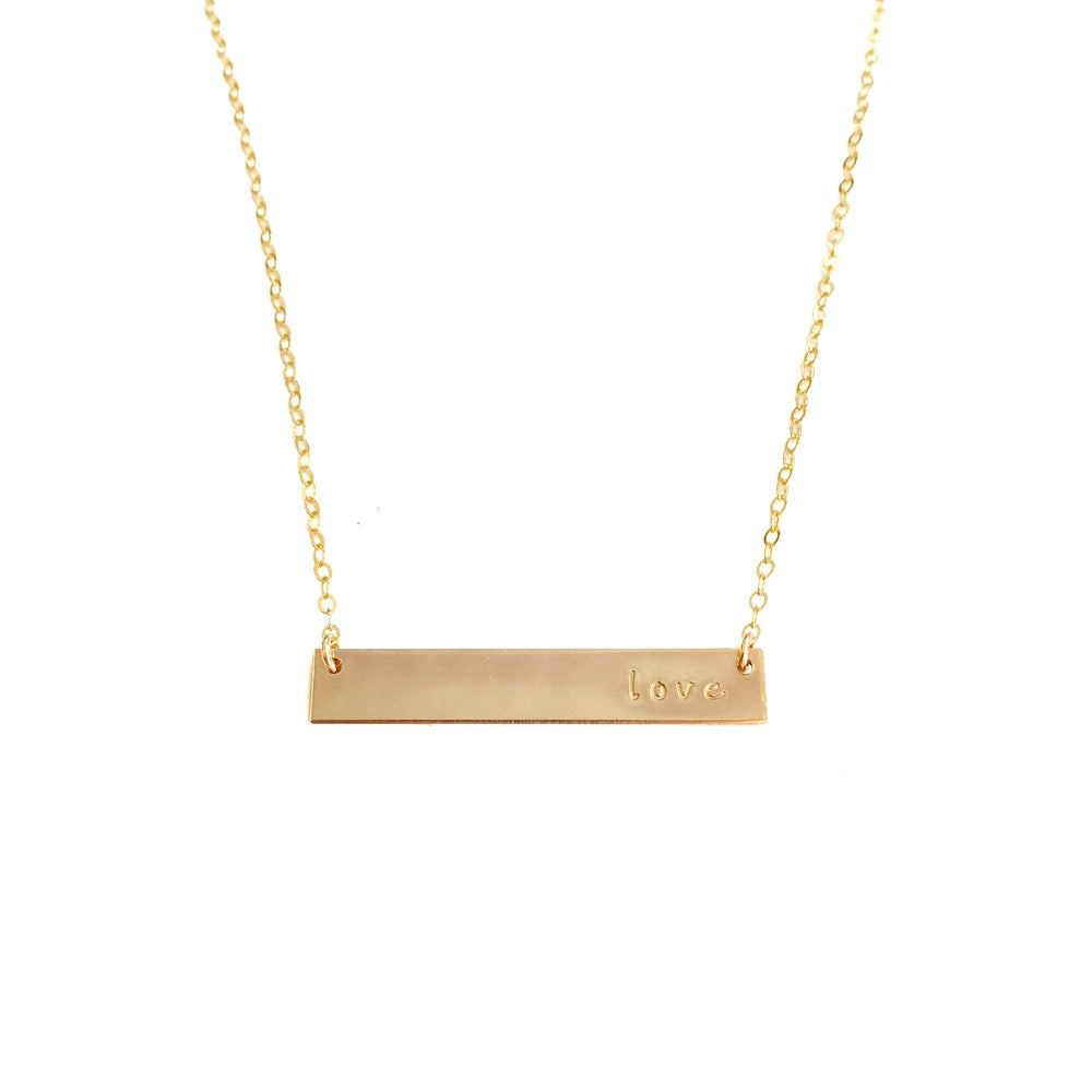 Gold Love Bar Necklace