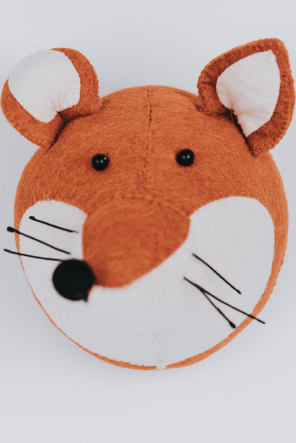 Handcrafted fox head wall decor for kids | ROOLEE Kids