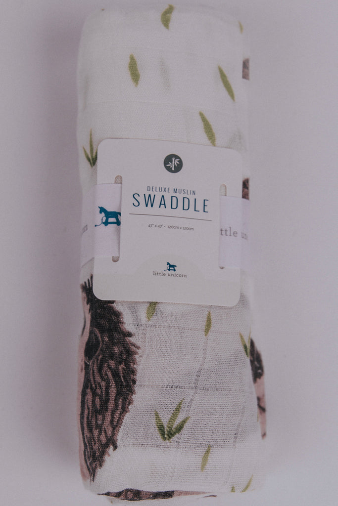 Hedgehog Print Soft Swaddle Blanket | ROOLEE Kids