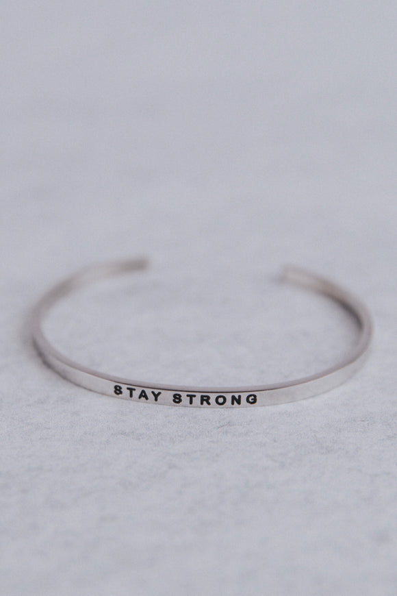 Silver Stay Strong MantraBand | ROOLEE