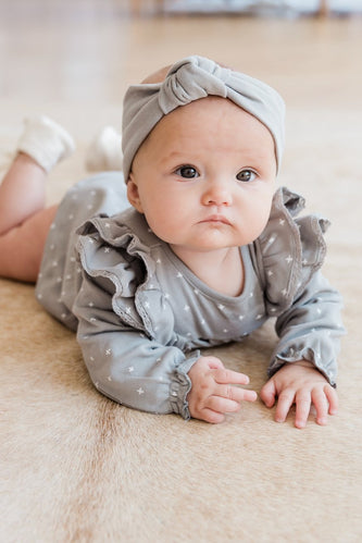Neutral Grey Baby Turban | ROOLEE