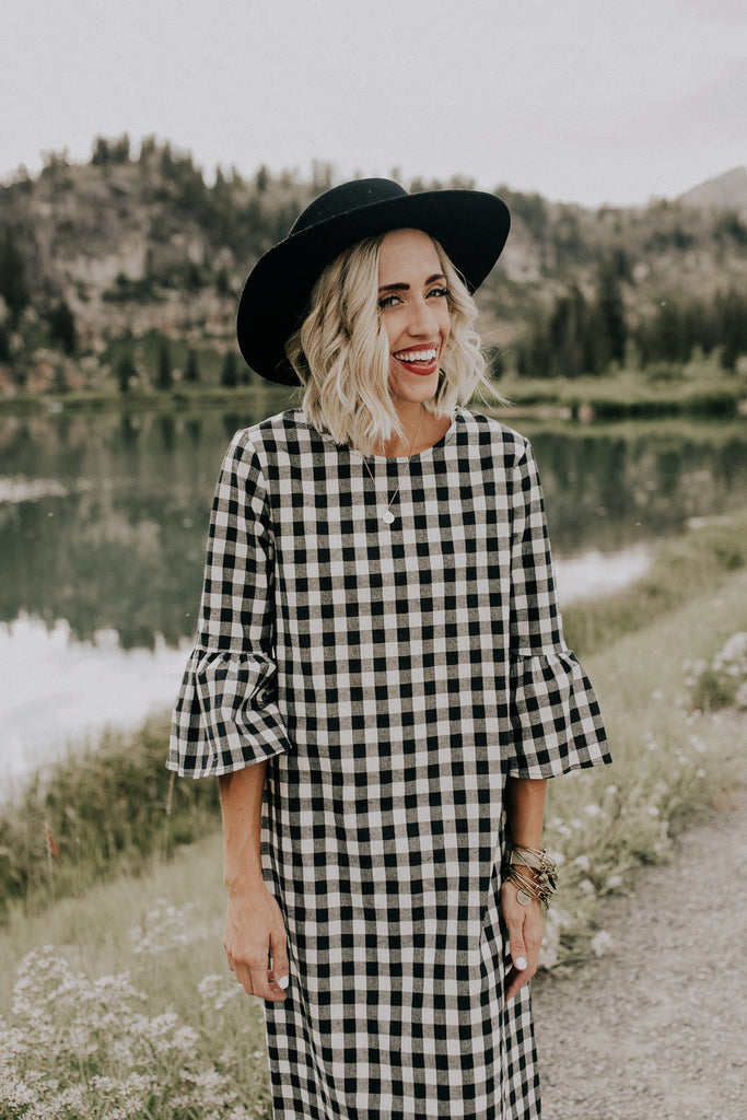 Joy Plaid MOM Dress in Black