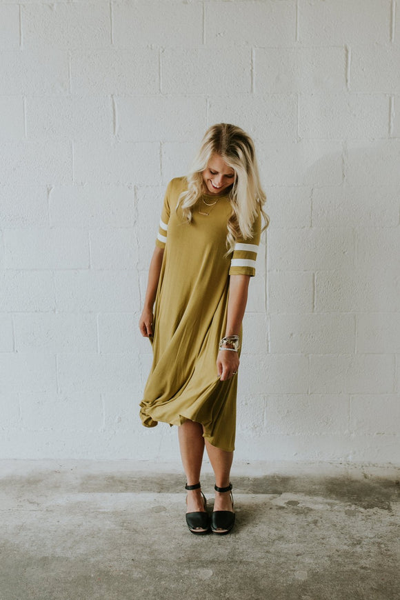 lexis-mom-stripe-sleeve-dress-in-mustard