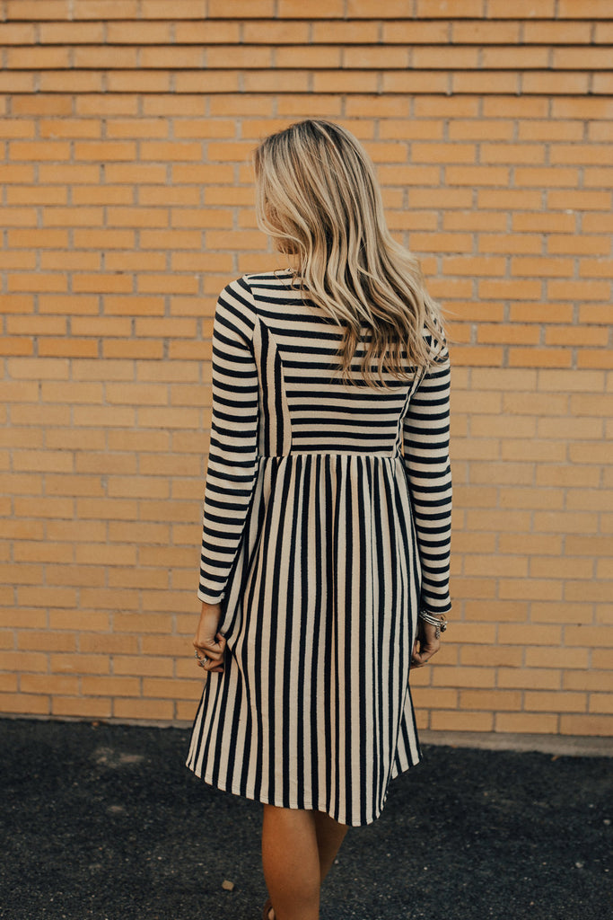 Elm Stripe Dress in Charcoal