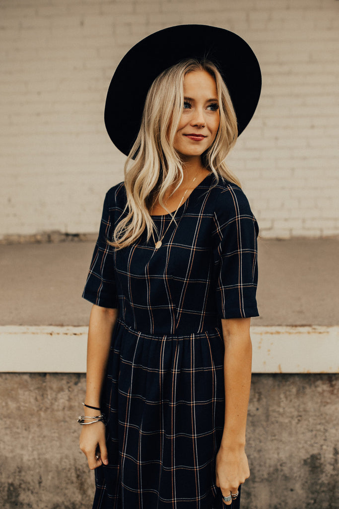 So This is Love Plaid MOM Midi in Navy
