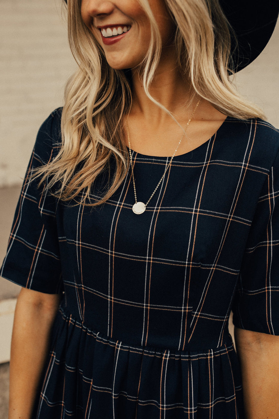So This is Love Plaid Midi in Navy