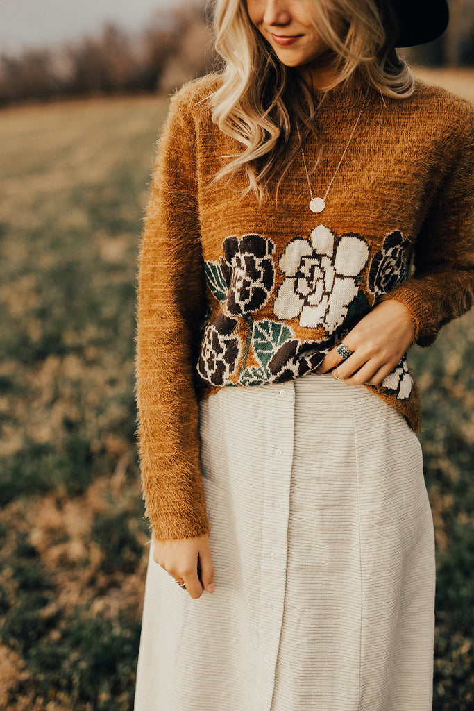 Thistle Embroidered Sweater