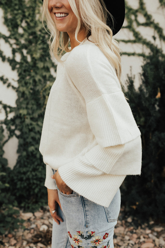 Macbeth Ruffle Sweater in Cream