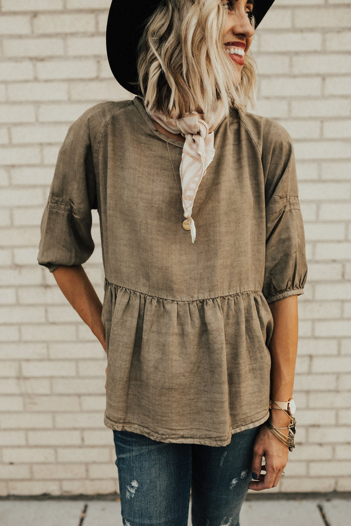 Little Italy Babydoll Top in Olive