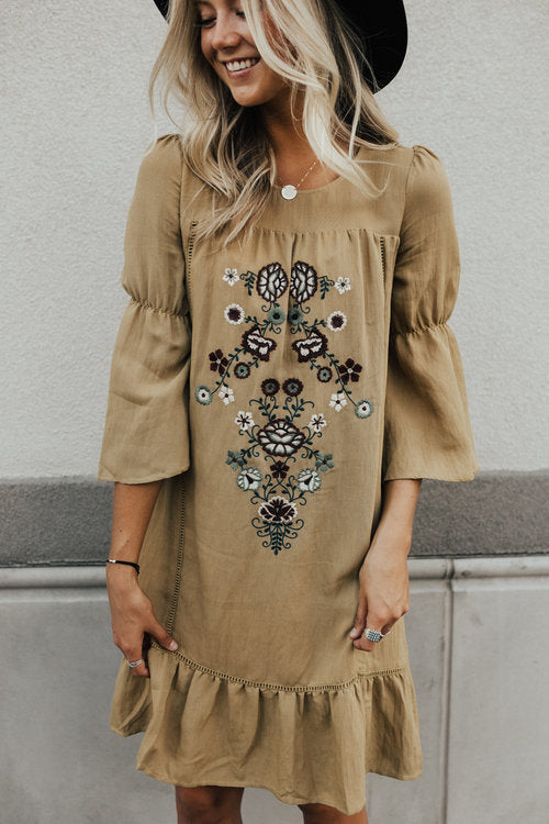 Walk the Line Embroidered Dress | ROOLEE