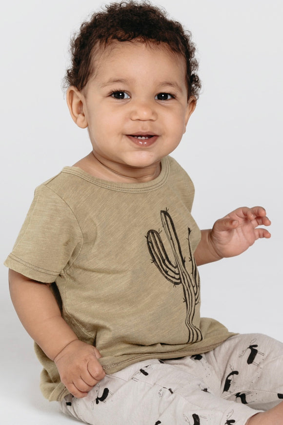 Basic Tee With Cactus Graphic Print For Kids | ROOLEE Kids