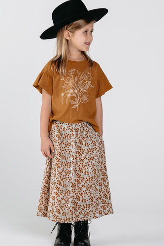 Button Front Midi Skirt Outfit For Girls | ROOLEE Kids