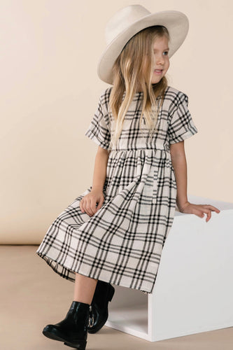Girls Black/White Gingham Dress | ROOLEE