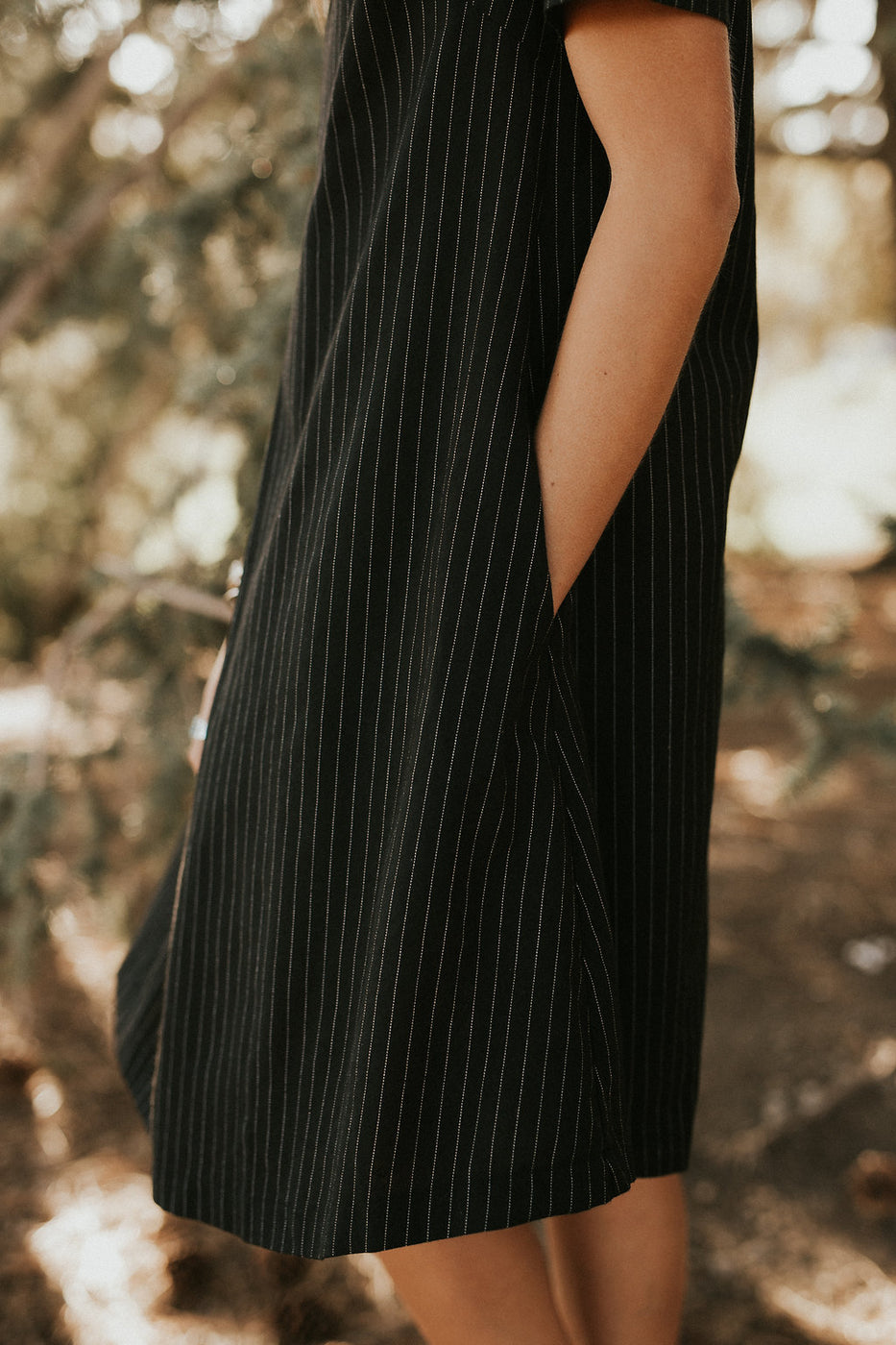 Pinstripe Dress w/Pleated Front | ROOLEE