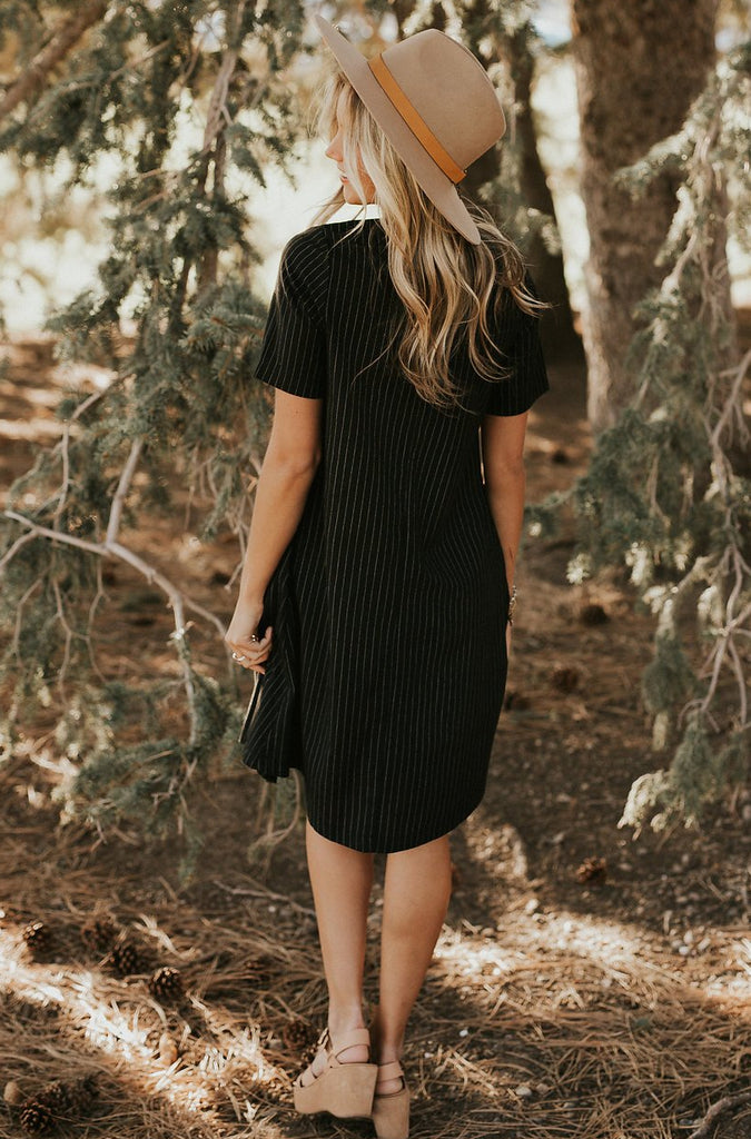 Black Dress w/Stripes + Pockets | ROOLEE