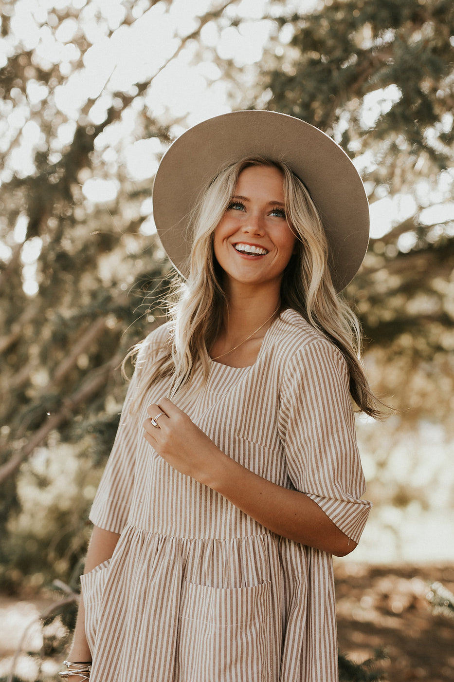Tan + Cream Stripe Dress | ROOLEE