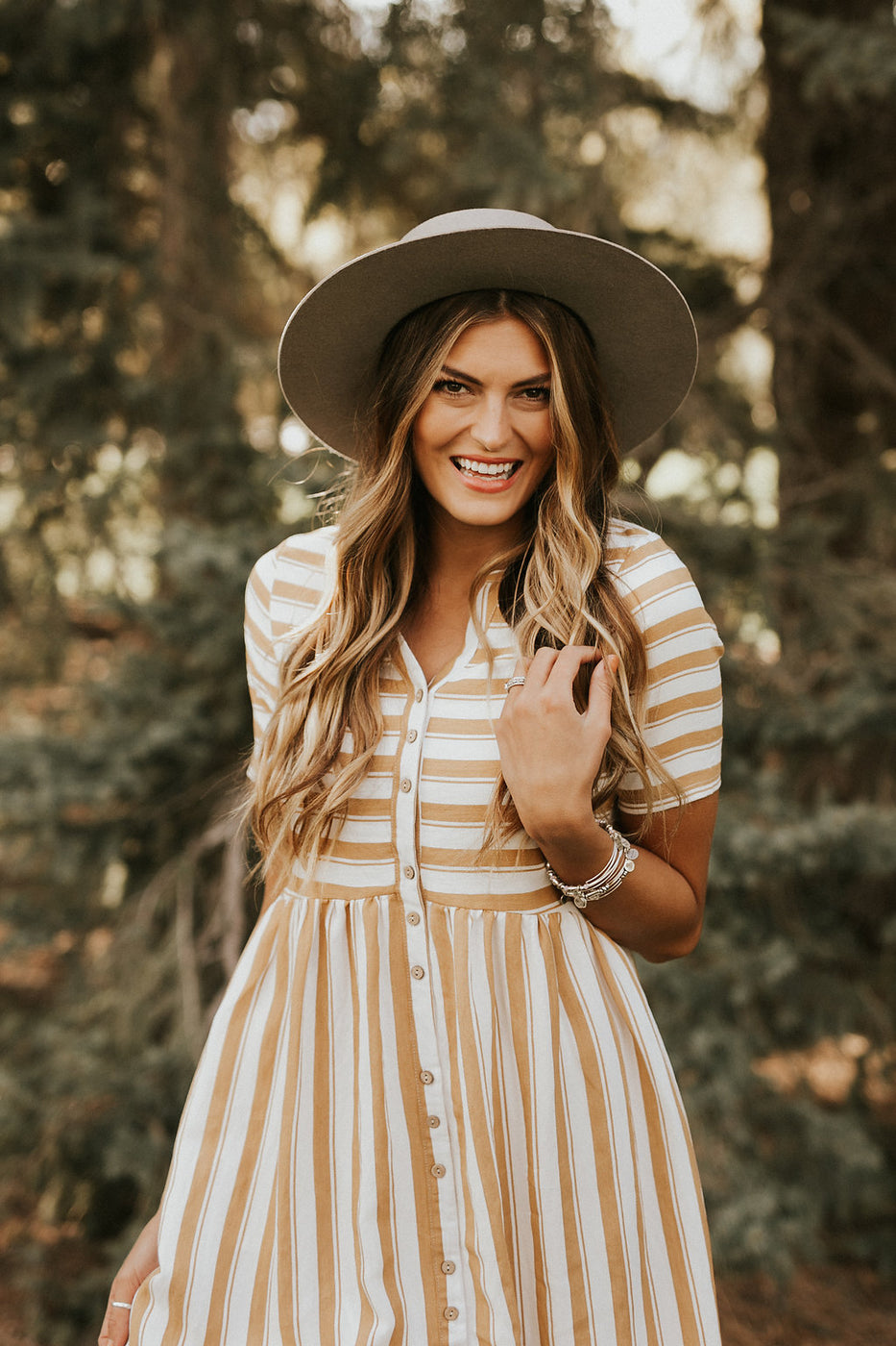 Fully Lined Mustard + White Dress with Short Sleeves | ROOLEE