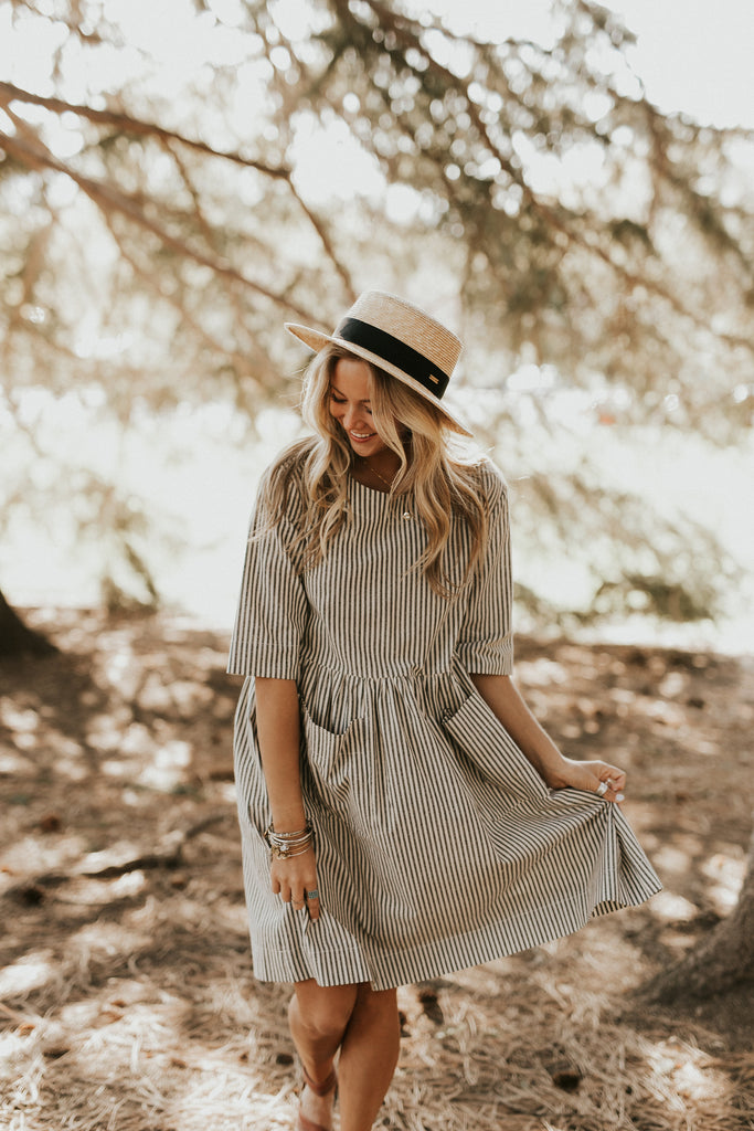 Stripe Short Sleeve Dress | ROOLEE